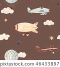 Watercolor aircraft baby pattern 46433897