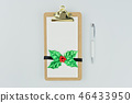 Empty notebook with Christmas decor and pen 46433950