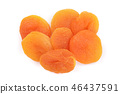 Dried apricots isolated on a white background. Top view. Flat lay pattern 46437591