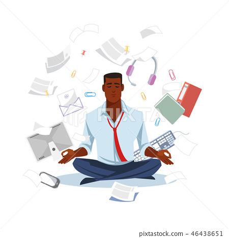 Businessman Meditating to Get Calm Flat Vector 46438651