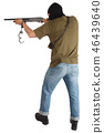 robber in black mask with shotgun 46439640