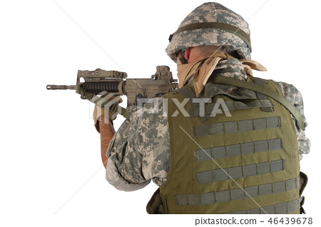 rifleman with assault rifle on white background 46439678