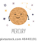Cute planet Mercury. Planet with hands and eyes. Vector illustration for children 46440191