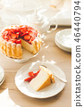 French Fresh Strawberry charlotte cake with teapot 46440794