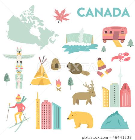 Set of vector landmarks, icons, symbols of Canada 46441238