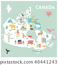 Vector illustrated cartoon map of Canada 46441243