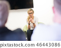 Female candidate presenting her CV in front of business job recuters during job interview in office. 46443086