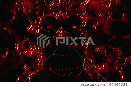Angry bloody ghoul face. Red color. 46445221