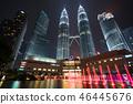 Fountainat night in Kuala Lumpur, Malaysia. 46445676