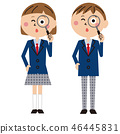 Men and girls in school uniforms with pops are looking in a magnifying glass 46445831