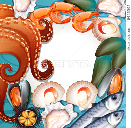 Set of fresh seafood 46446393