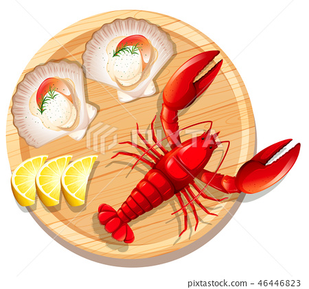 A seafood plate with lobster and scallop 46446823