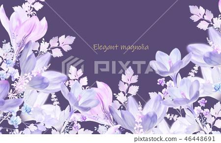 紫色水彩玉蘭花花卉 46448691