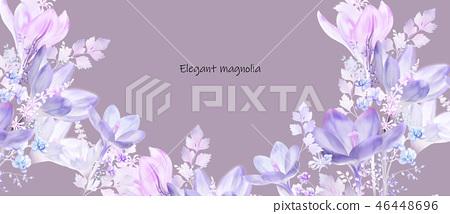 紫色水彩玉蘭花花卉 46448696