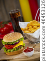 Burger with French fries cutlet with cheese and tomato 46453126