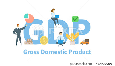 GDP, Gross Domestic Product. Concept with keywords, letters and icons. Flat vector illustration 46453509