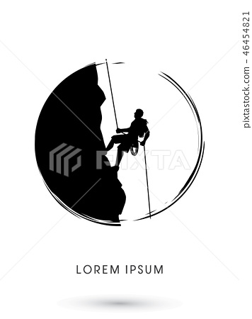 Silhouette Man climbing on a cliff graphic vector 46454821