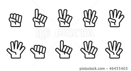 Hand counting number icons set outline black 46455403