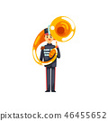 Soldier playing tuba, member of army military band with musical instrument vector Illustration on a 46455652