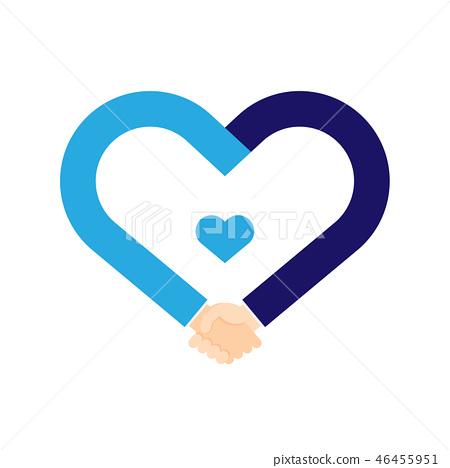 Handshake heart symbol shape set Business Success 46455951