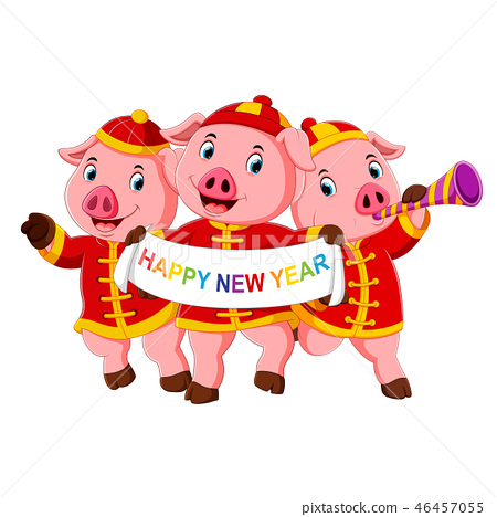 three little pigs are celebrating chinese new year 46457055