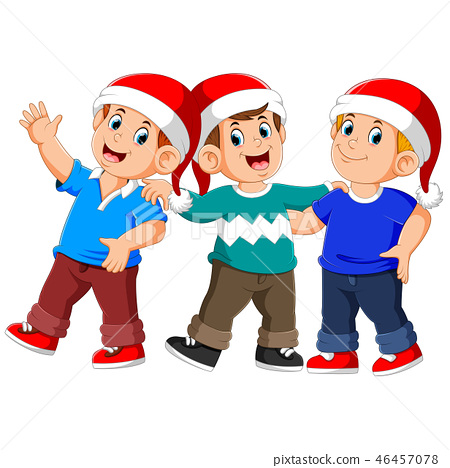 three men uses the christmas hat is standing 46457078