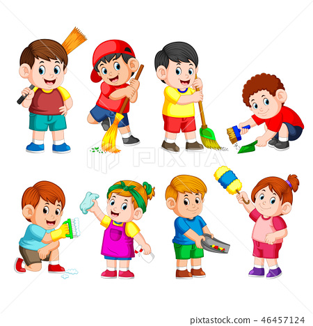 a group of children holding the cleaning tools  46457124