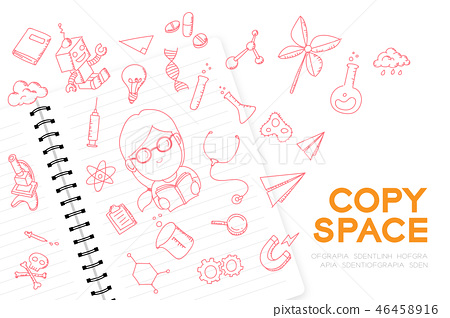 Notebook with kid girl hand drawing set, Imagine 46458916