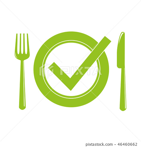 green plate with cutlery meal check 46460662