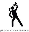 woman doing fitness with dumbbell pictogram 46460664
