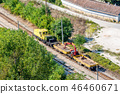 Small yellow railway service engine moving 46460671