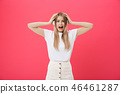 Young woman operator from call center covering ears ignoring annoying loud noise, plugs ears to 46461287