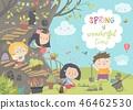 Cute cartoon kids are gardening in spring park 46462530