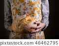 girl holding fresh white bread 46462795