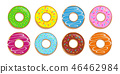 set of colorful donuts with different sugar sprinkles 46462984