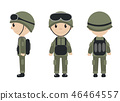 Cartoon soldier mascot set of objects in flat style. Soldiers character collection. Isolated on 46464557