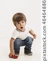 Portrait of happy little boy over white background 46464886