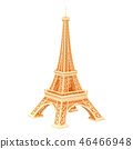Golden Eiffel Tower, 3D rendering 46466948