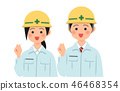 Man and woman wearing helmets and working clothes posing guts 46468354