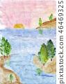 Banner in watercolor style. Marine theme. Coast, sand, stones, island 46469325