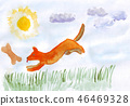 Puppy hops. Watercolor hand drawn illustration 46469328
