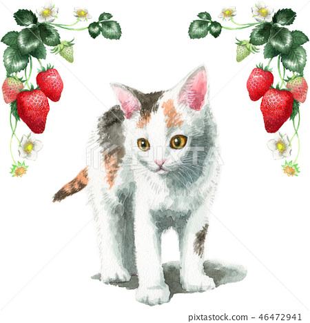草莓框架和由水彩绘的三眼小猫 46472941