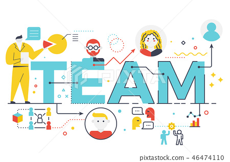 Team word lettering illustration 46474110