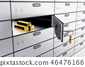 3D safe deposit boxes with open one safe cell. 46476166