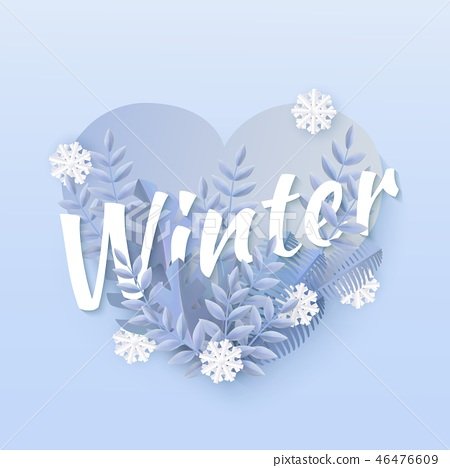 Vector winter background with leaves and snowflake 46476609