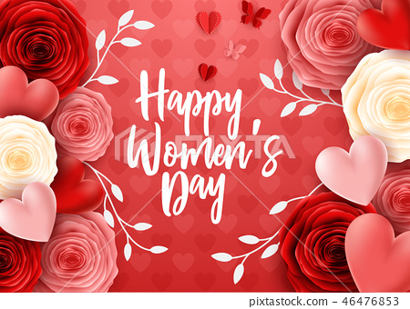 Happy International Women's Day with butterfly and 46476853