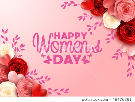 Happy International Women's Day with roses flower  46476861