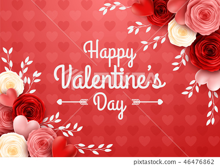 Valentines day greeting card with rose flower and  46476862
