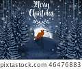 Happy Winter with evening Forest Landscape and fox 46476883