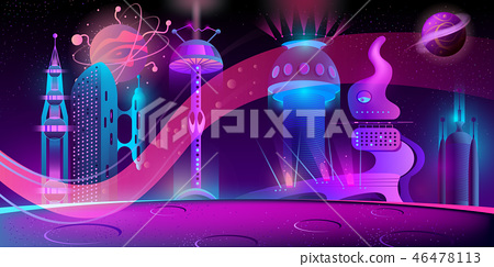 Vector night background with alien futuristic city 46478113